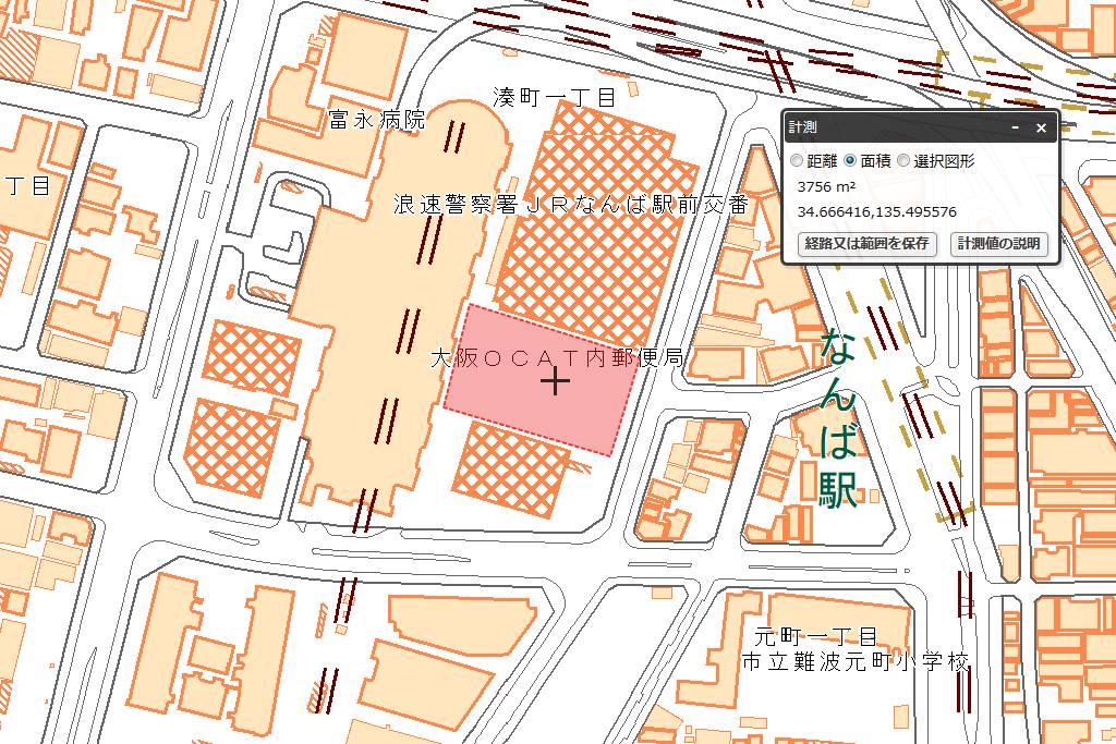 アパホテル&リゾート 難波駅前タワーの敷地面積を計測 (電子国土地図を使用)