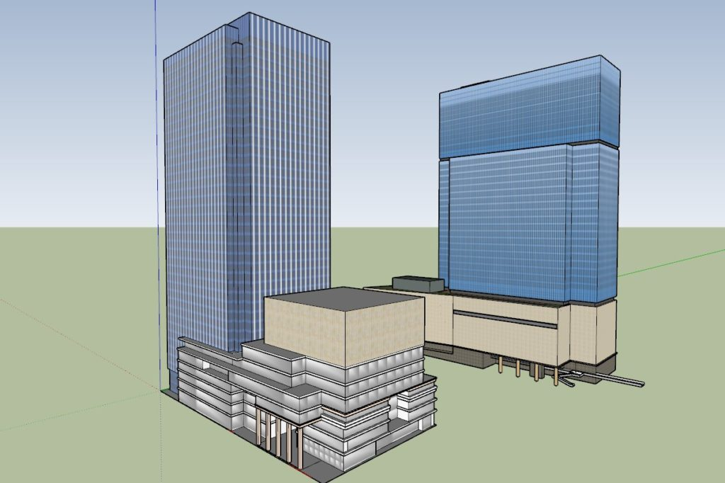 Umeda 3-chome PJ, 3D Model Comparsion, from South.