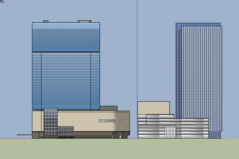 Umeda 3-chome PJ, 3D model comparsion, Exterior elevation, North.