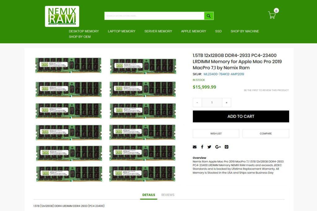 NEMIX RAM 12x128GB DDR4-2933 PC4-23400 LRDIMM Memory