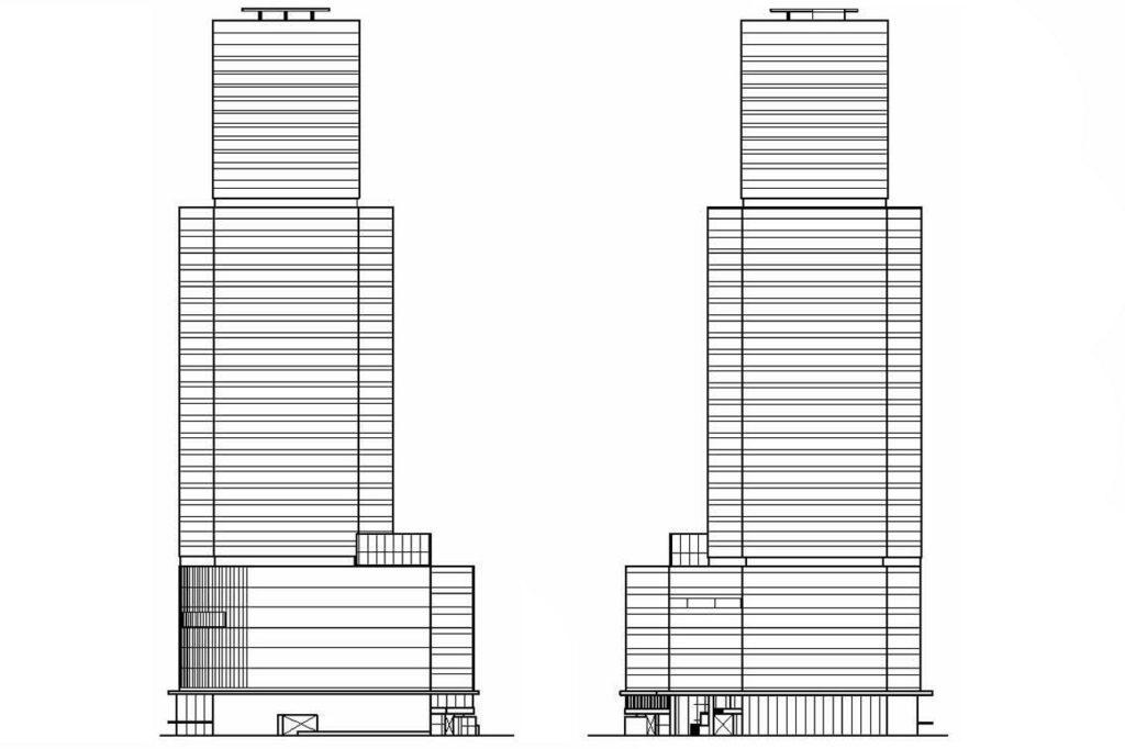 梅田三丁目計画・西・東側立面図