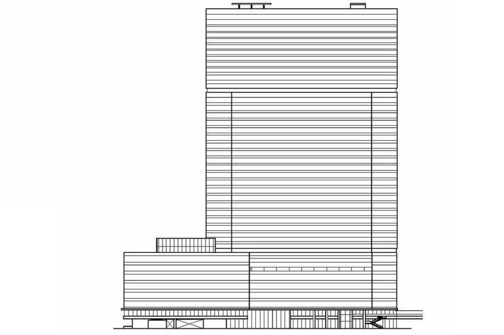 梅田三丁目計画・南側立面図