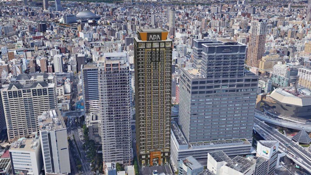 アパホテル&リゾート 難波駅前タワー 東側より