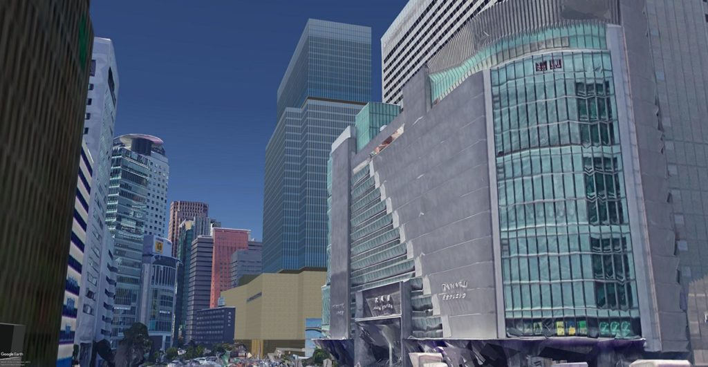 Umeda 3-chome PJ, virtual seeing, from east.