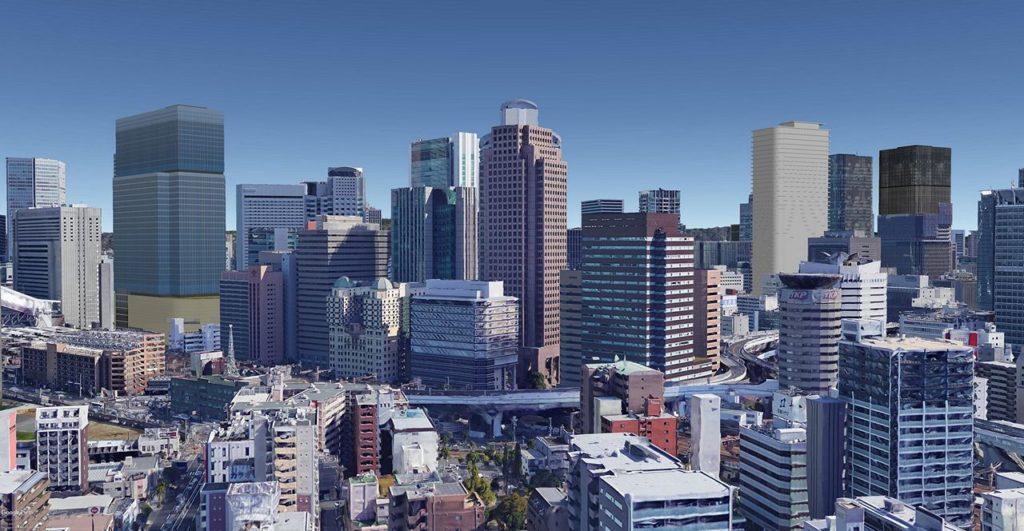 Umeda 3-chome PJ and buildings of Nishi-Umeda.