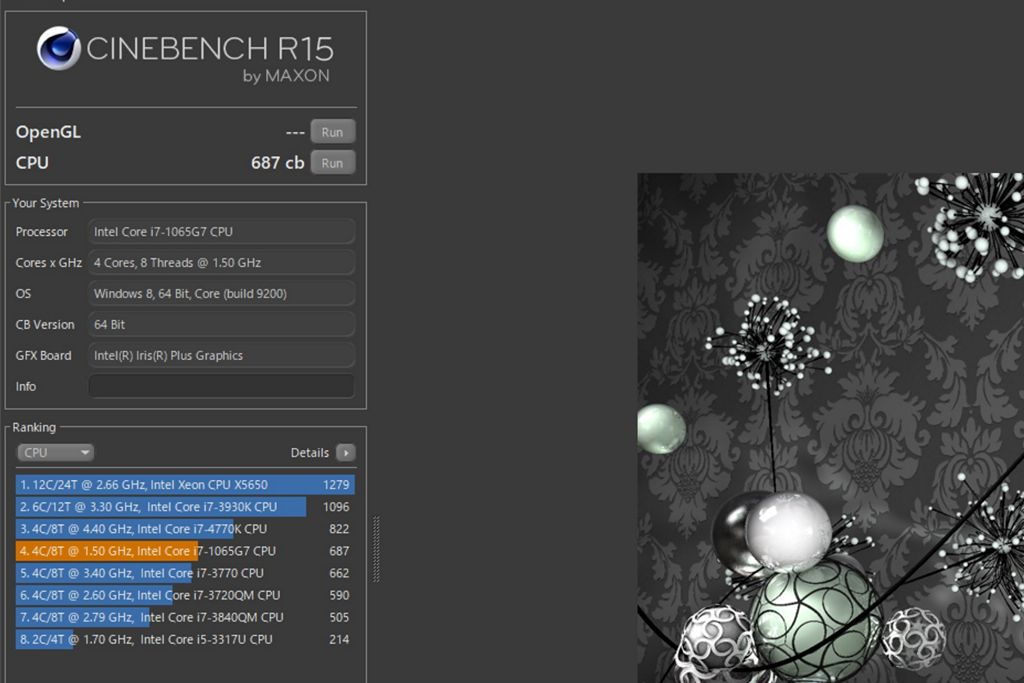 Cinebench R15 on XPS 13 9300